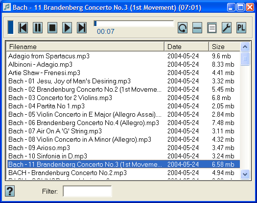 Lightweight MP3 player with quick and easy playlists