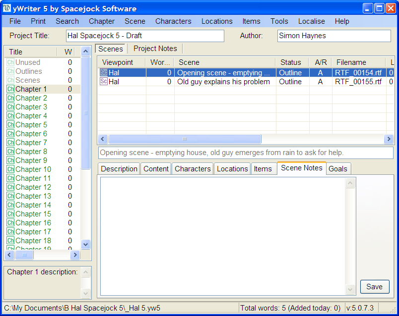 Click to view yWriter5 5.2.1.1 screenshot
